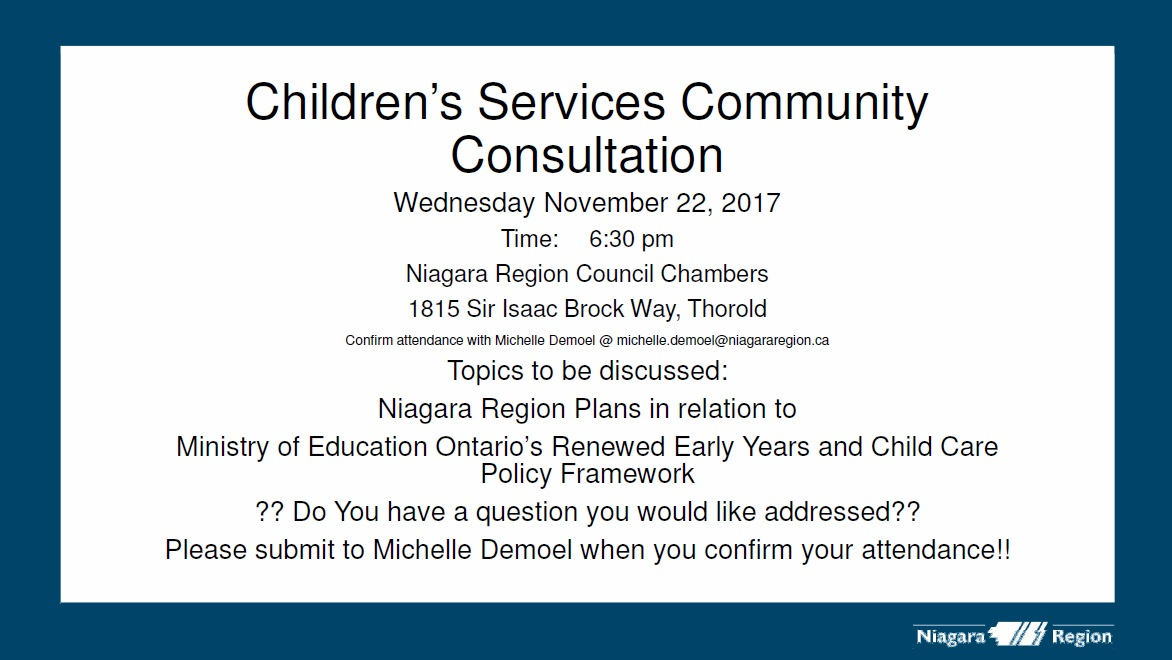 niagara region children u0026 39 s services community consultation