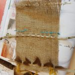 sewing with wool in burlap