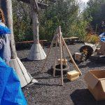 wooden den structure in playground