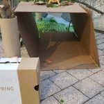 A cardboard box as a table for twigs
