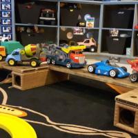 big cars on big wood blocks track
