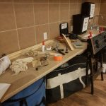 woodworking table with tools