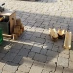 grates and halved wood for block play